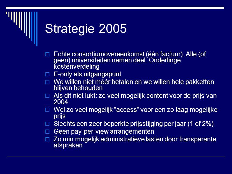 Strategie 2005  Echte consortiumovereenkomst (één factuur). Alle (of geen) universiteiten nemen deel. Onderlinge kostenverdeling  E-only als uitgang
