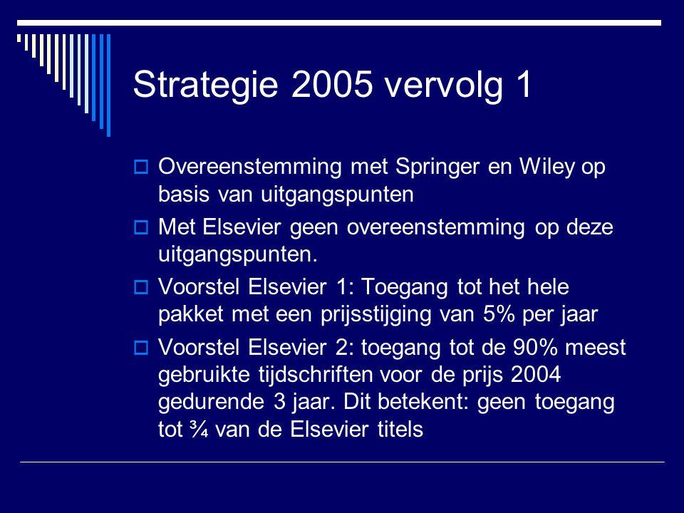 Strategie 2005 vervolg 1  Overeenstemming met Springer en Wiley op basis van uitgangspunten  Met Elsevier geen overeenstemming op deze uitgangspunten.
