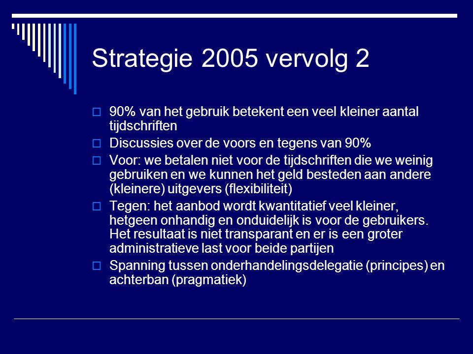 Strategie 2005 vervolg 2  90% van het gebruik betekent een veel kleiner aantal tijdschriften  Discussies over de voors en tegens van 90%  Voor: we