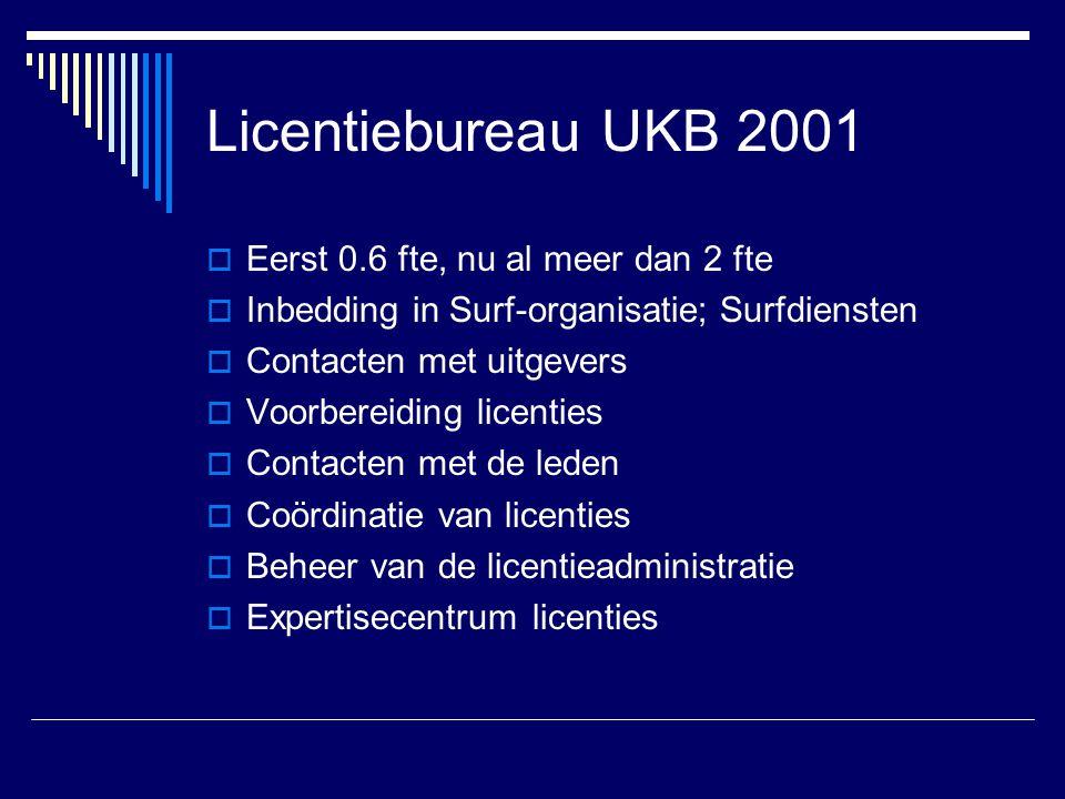 Licentiebureau UKB 2001  Eerst 0.6 fte, nu al meer dan 2 fte  Inbedding in Surf-organisatie; Surfdiensten  Contacten met uitgevers  Voorbereiding licenties  Contacten met de leden  Coördinatie van licenties  Beheer van de licentieadministratie  Expertisecentrum licenties