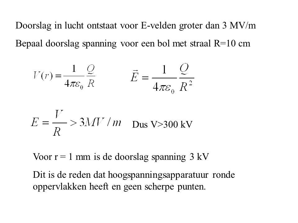 Doorslag in lucht ontstaat voor E-velden groter dan 3 MV/m Bepaal doorslag spanning voor een bol met straal R=10 cm Dus V>300 kV Voor r = 1 mm is de d