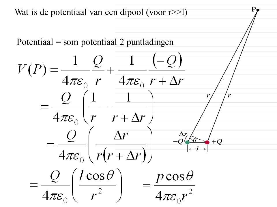 Wat is de potentiaal van een dipool (voor r>>l) Potentiaal = som potentiaal 2 puntladingen