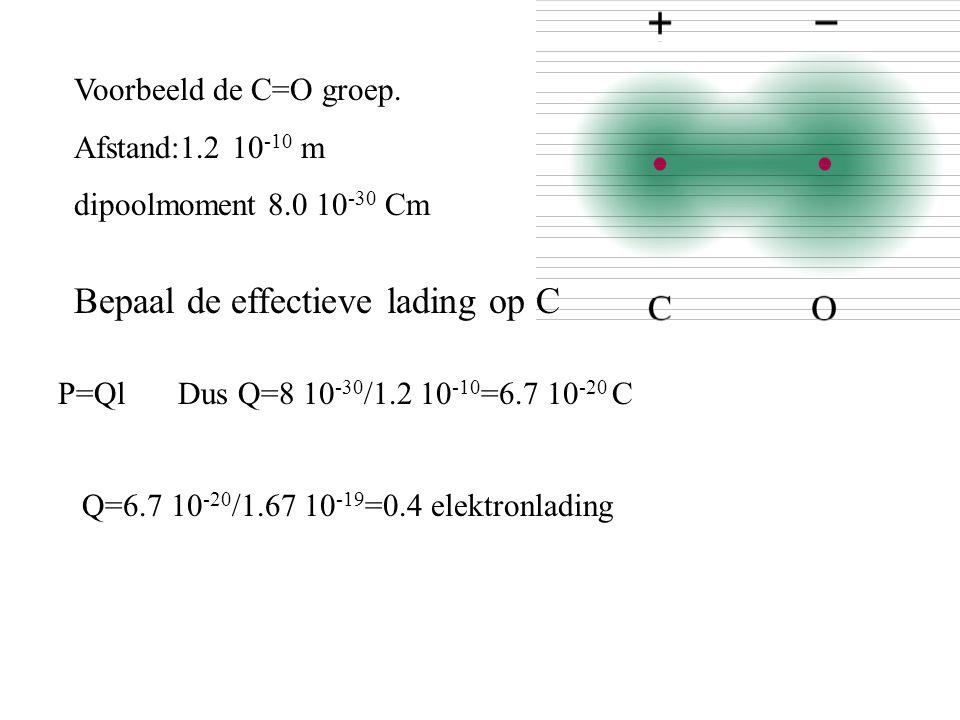 Voorbeeld de C=O groep. Afstand:1.2 10 -10 m dipoolmoment 8.0 10 -30 Cm Bepaal de effectieve lading op C P=QlDus Q=8 10 -30 /1.2 10 -10 =6.7 10 -20 C