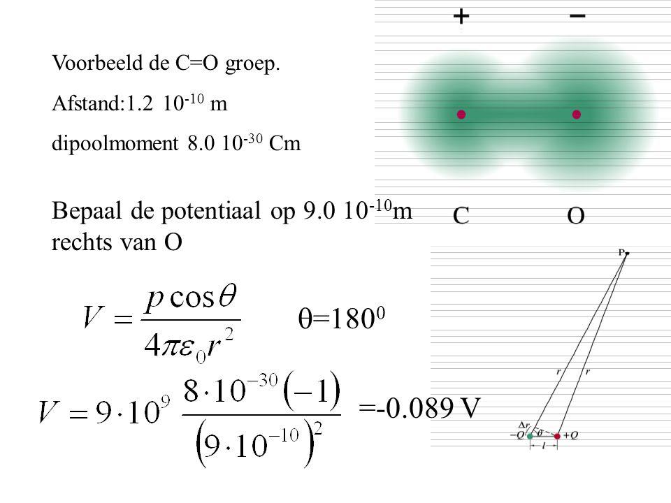 Voorbeeld de C=O groep. Afstand:1.2 10 -10 m dipoolmoment 8.0 10 -30 Cm Bepaal de potentiaal op 9.0 10 -10 m rechts van O  =180 0 =-0.089 V