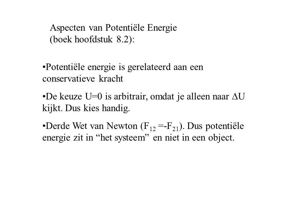 Aspecten van Potentiële Energie (boek hoofdstuk 8.2): Potentiële energie is gerelateerd aan een conservatieve kracht De keuze U=0 is arbitrair, omdat