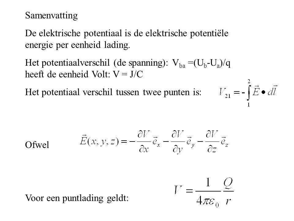 Samenvatting De elektrische potentiaal is de elektrische potentiële energie per eenheid lading. Het potentiaalverschil (de spanning): V ba =(U b -U a