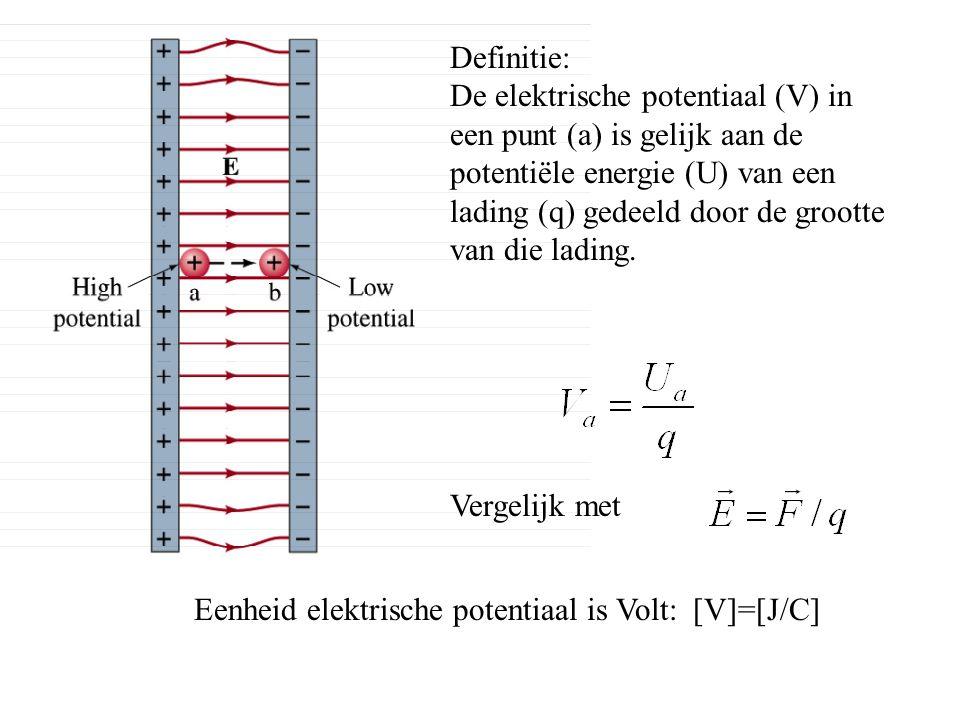 Definitie: De elektrische potentiaal (V) in een punt (a) is gelijk aan de potentiële energie (U) van een lading (q) gedeeld door de grootte van die la
