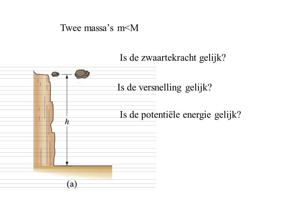 Twee massa's m<M Is de zwaartekracht gelijk? Is de versnelling gelijk? Is de potentiële energie gelijk?