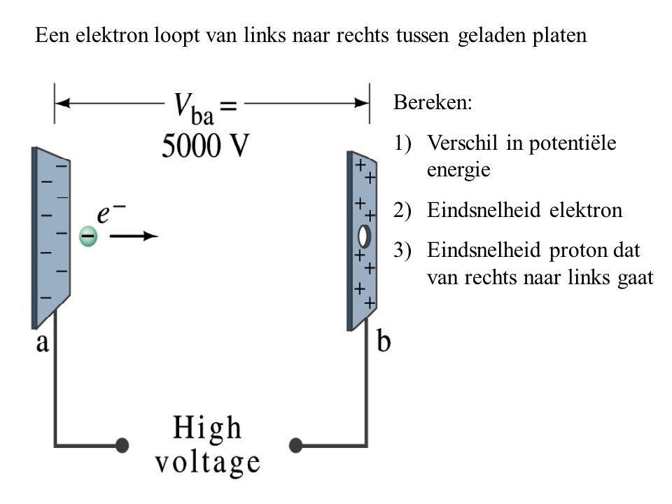 Bereken: 1)Verschil in potentiële energie 2)Eindsnelheid elektron 3)Eindsnelheid proton dat van rechts naar links gaat Een elektron loopt van links na