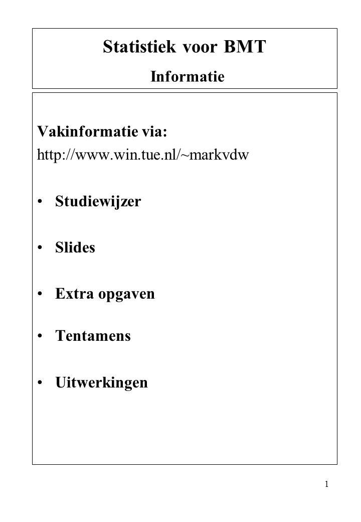 1 Vakinformatie via: http://www.win.tue.nl/~markvdw Studiewijzer Slides Extra opgaven Tentamens Uitwerkingen Statistiek voor BMT Informatie