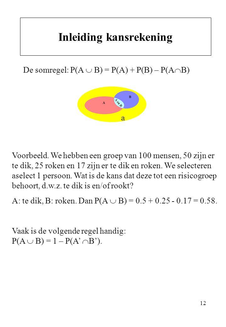 12 De somregel: P(A  B) = P(A) + P(B) – P(A  B) Inleiding kansrekening Voorbeeld. We hebben een groep van 100 mensen, 50 zijn er te dik, 25 roken en