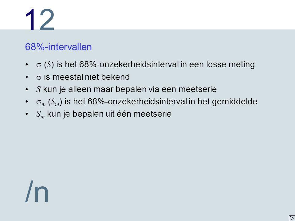 1212 /n 68%-intervallen  ( S ) is het 68%-onzekerheidsinterval in een losse meting  is meestal niet bekend S kun je alleen maar bepalen via een meet