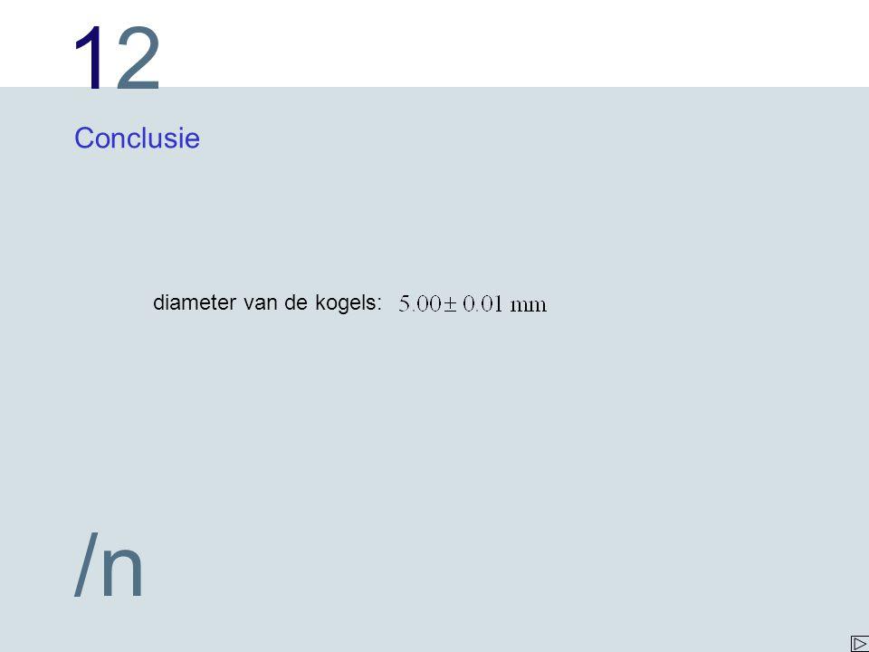 1212 /n Conclusie diameter van de kogels: