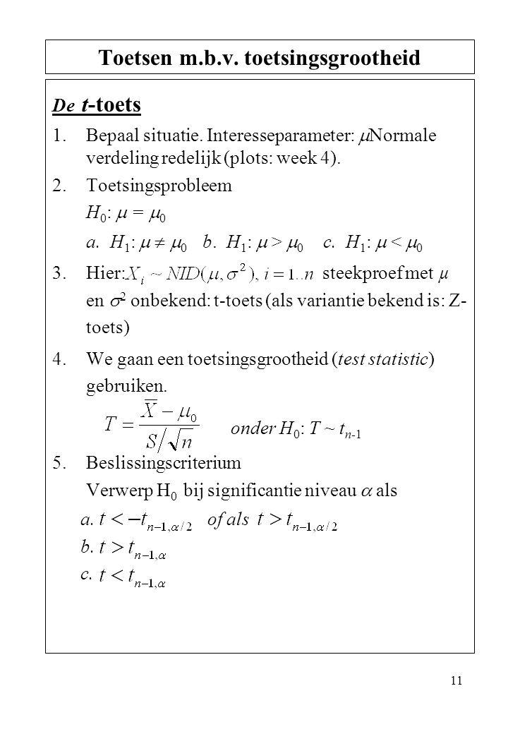 11 De t-toets 1.Bepaal situatie. Interesseparameter:  Normale verdeling redelijk (plots: week 4). 2.Toetsingsprobleem H 0 :  =  0 a. H 1 :    0