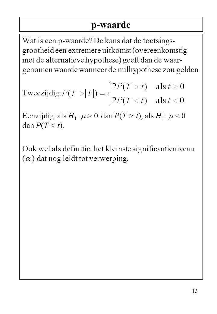 13 Wat is een p-waarde? De kans dat de toetsings- grootheid een extremere uitkomst (overeenkomstig met de alternatieve hypothese) geeft dan de waar- g