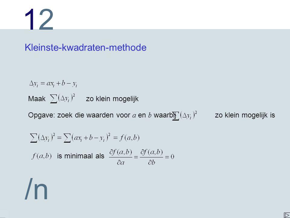 1212 /n Kleinste-kwadraten-methode Maak zo klein mogelijk Opgave: zoek die waarden voor a en b waarbij zo klein mogelijk is is minimaal als