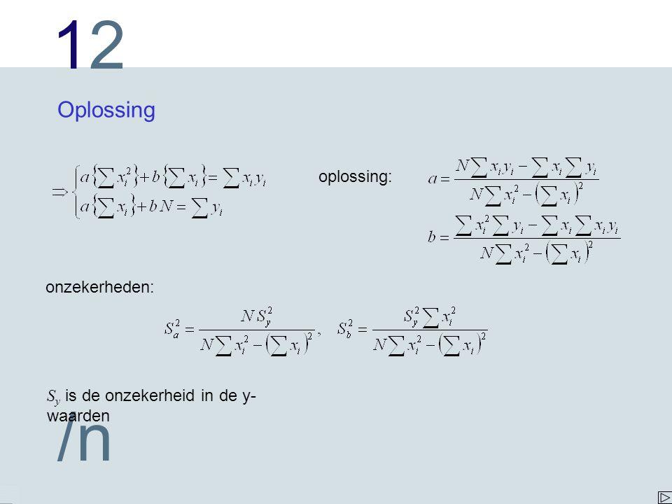 1212 /n Oplossing oplossing: onzekerheden: S y is de onzekerheid in de y- waarden