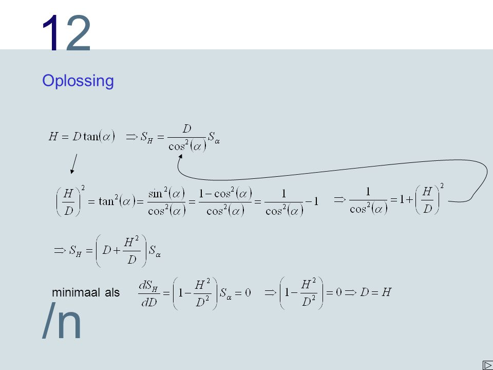 1212 /n Oplossing minimaal als