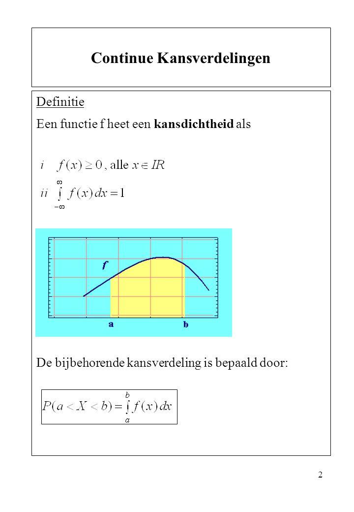 3 De cumulatieve verdelingsfunctie (cumulative distribution function, cdf ) is nu: De kansdichtheid is de afgeleide van de verdelings- functie We kunnen nu kansen berekenen door de kansdichtheidsfuntie te integreren of waardes van de verdelingsfunctie in de eindpunten van elkaar af te trekken: Vaak wordt f(x) alleen gegeven voor het domein waarop deze niet nul is.