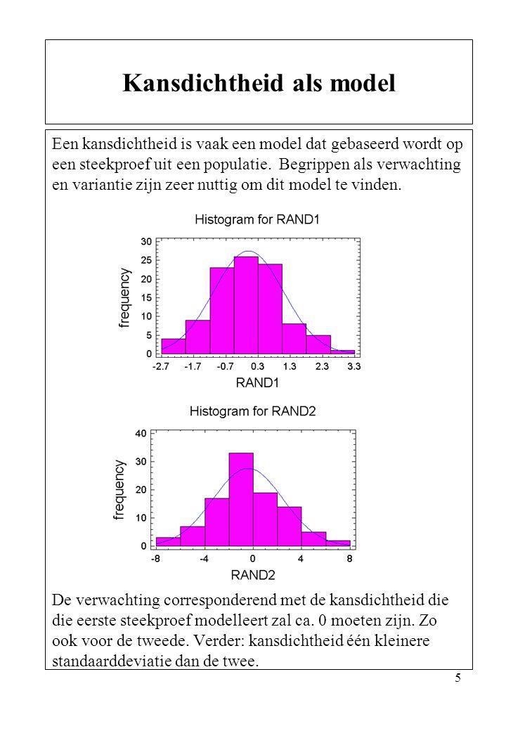 16 Voor normaal verdeelde stochasten geldt: Als X 1, X 2,…….X n onderling onafhankelijke stochasten zijn en dan Belangrijk gevolg: Als X 1, X 2,…….X n onderling onafhankelijke normaal verdeelde stochasten zijn met dezelfde variantie en dezelfde verwachtingswaarde dan geldt voor het gemiddelde van die stochasten: Eigenschappen lin.