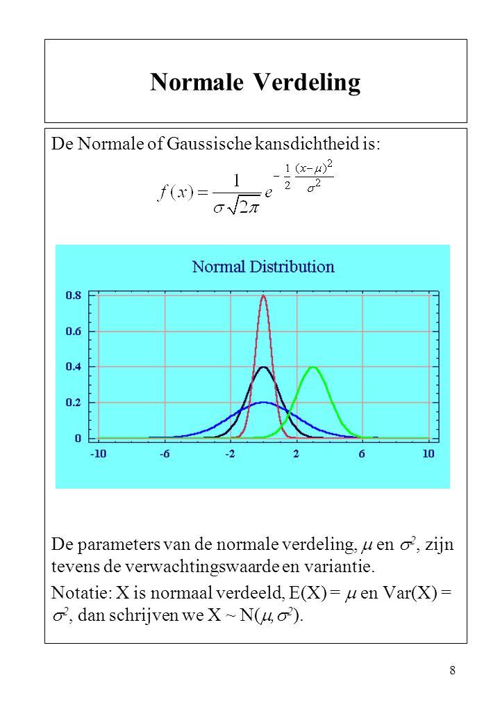 8 De Normale of Gaussische kansdichtheid is: De parameters van de normale verdeling,  en  2, zijn tevens de verwachtingswaarde en variantie. Notatie