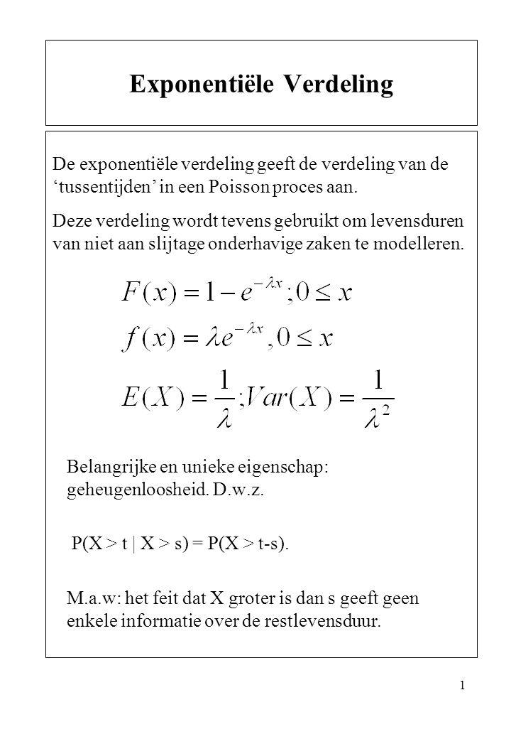 1 Belangrijke en unieke eigenschap: geheugenloosheid. D.w.z. P(X > t | X > s) = P(X > t-s). M.a.w: het feit dat X groter is dan s geeft geen enkele in