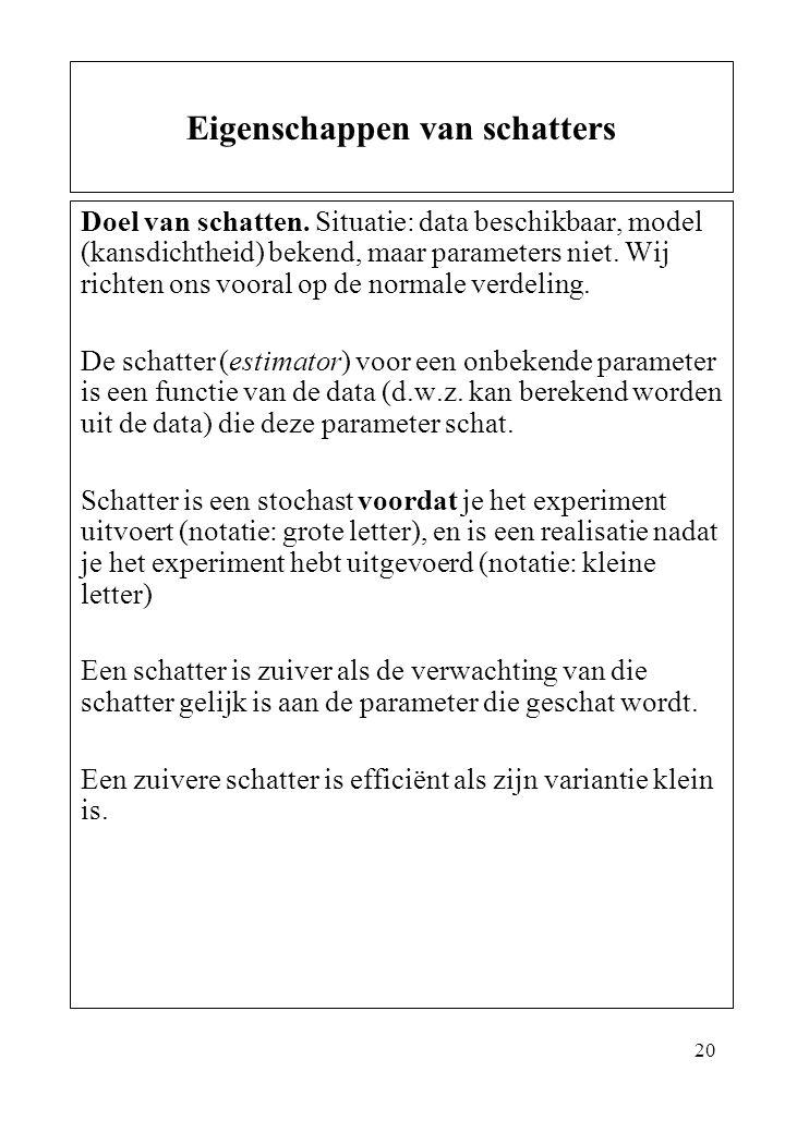 20 Doel van schatten. Situatie: data beschikbaar, model (kansdichtheid) bekend, maar parameters niet. Wij richten ons vooral op de normale verdeling.