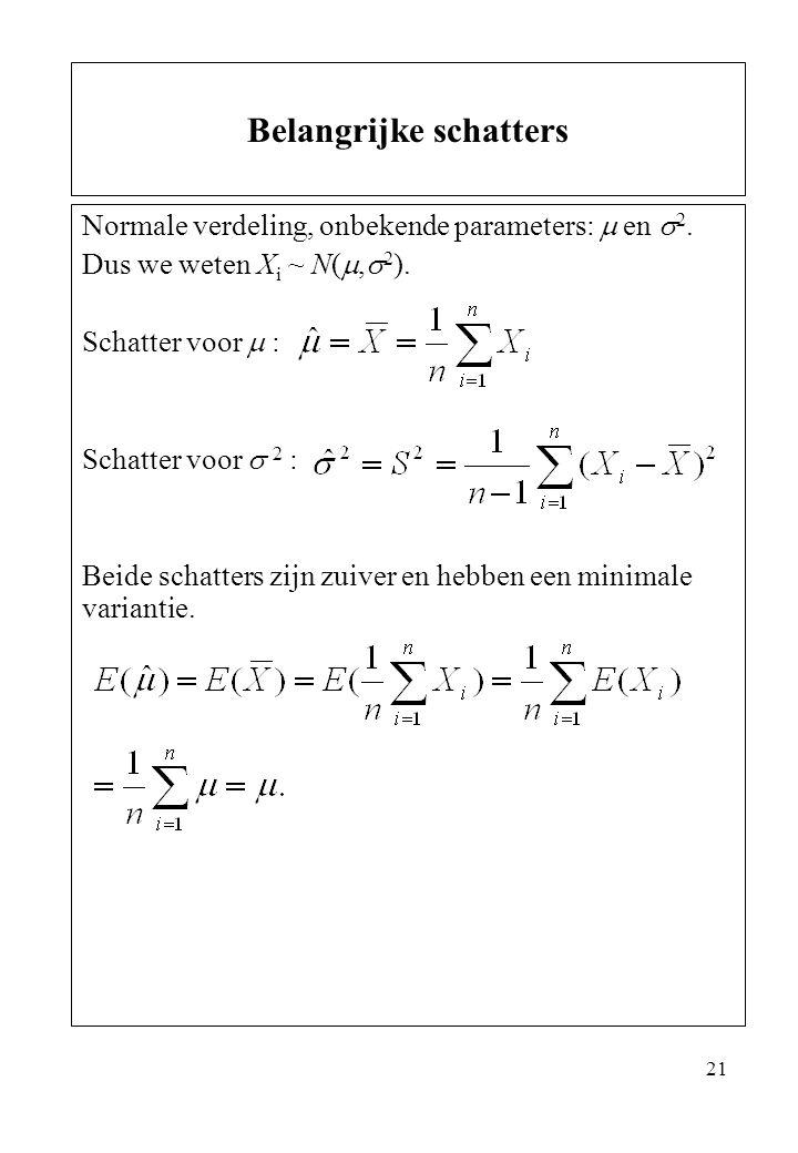 21 Normale verdeling, onbekende parameters:  en  2. Dus we weten X i ~ N( ,  2 ). Schatter voor  : Schatter voor  2 : Beide schatters zijn zuive