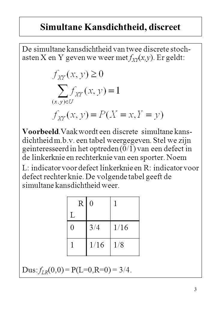 3 De simultane kansdichtheid van twee discrete stoch- asten X en Y geven we weer met f XY (x,y). Er geldt: Voorbeeld.Vaak wordt een discrete simultane