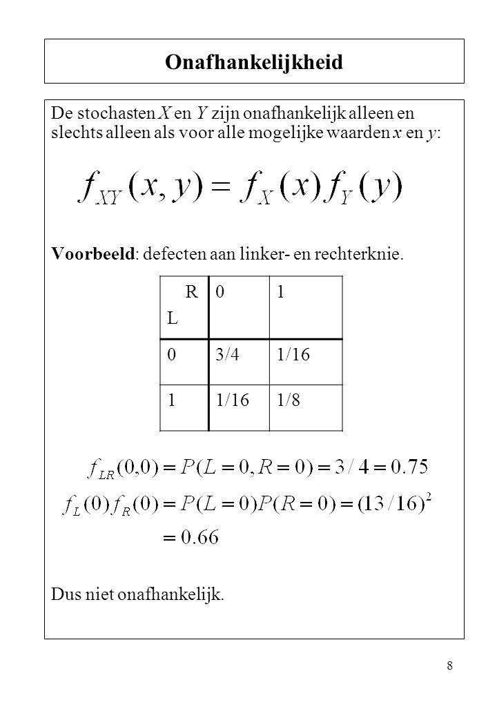 8 De stochasten X en Y zijn onafhankelijk alleen en slechts alleen als voor alle mogelijke waarden x en y: Voorbeeld: defecten aan linker- en rechterk