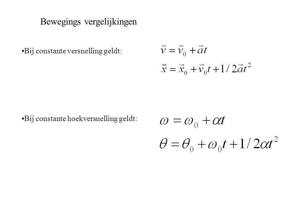 Bewegings vergelijkingen Bij constante versnelling geldt: Bij constante hoekversnelling geldt: