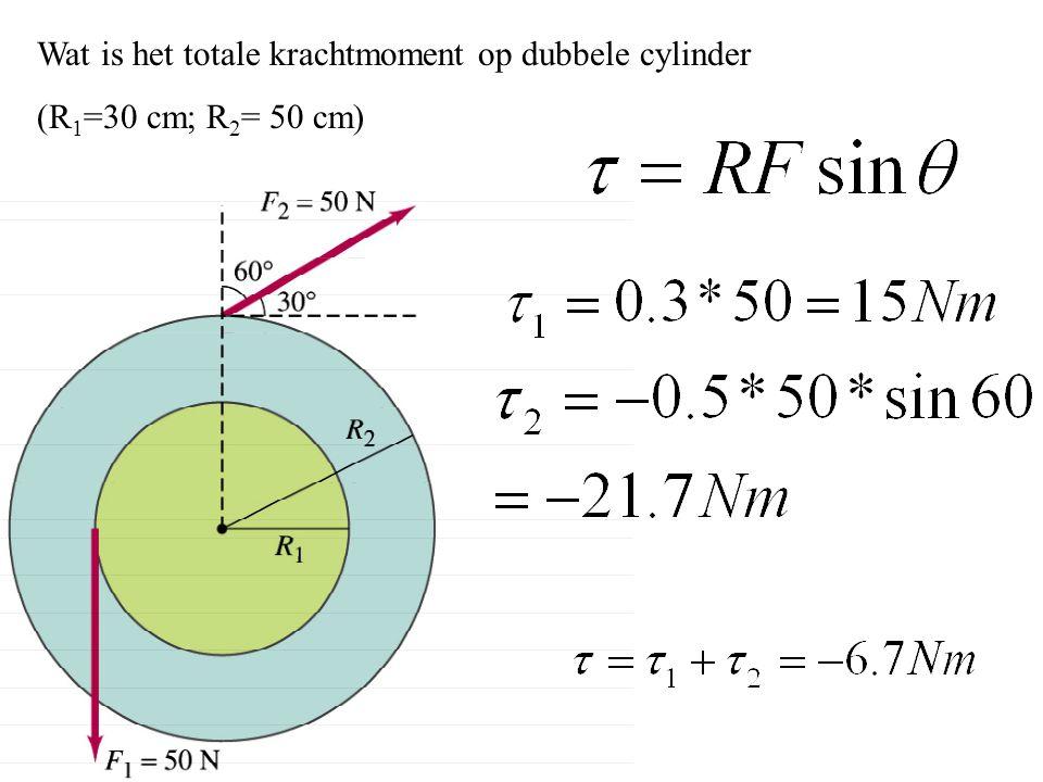 Wat is het totale krachtmoment op dubbele cylinder (R 1 =30 cm; R 2 = 50 cm)