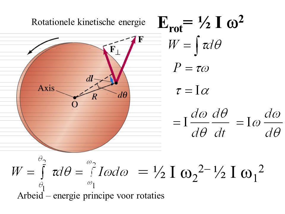 Rotationele kinetische energie E rot = ½ I  2 = ½ I    ½ I    Arbeid – energie principe voor rotaties