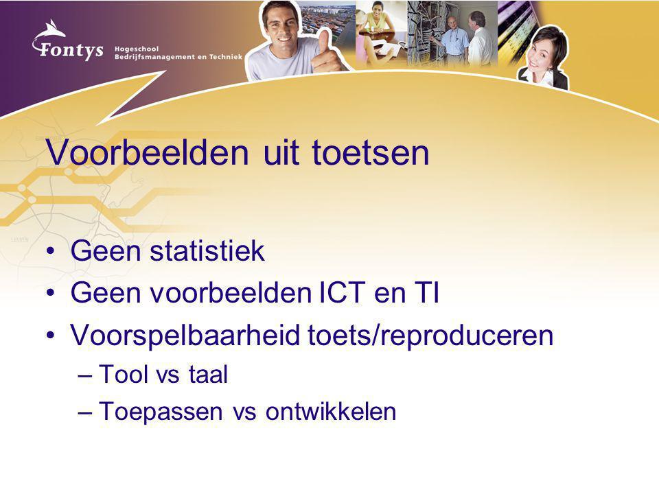 Voorbeelden uit toetsen Geen statistiek Geen voorbeelden ICT en TI Voorspelbaarheid toets/reproduceren –Tool vs taal –Toepassen vs ontwikkelen