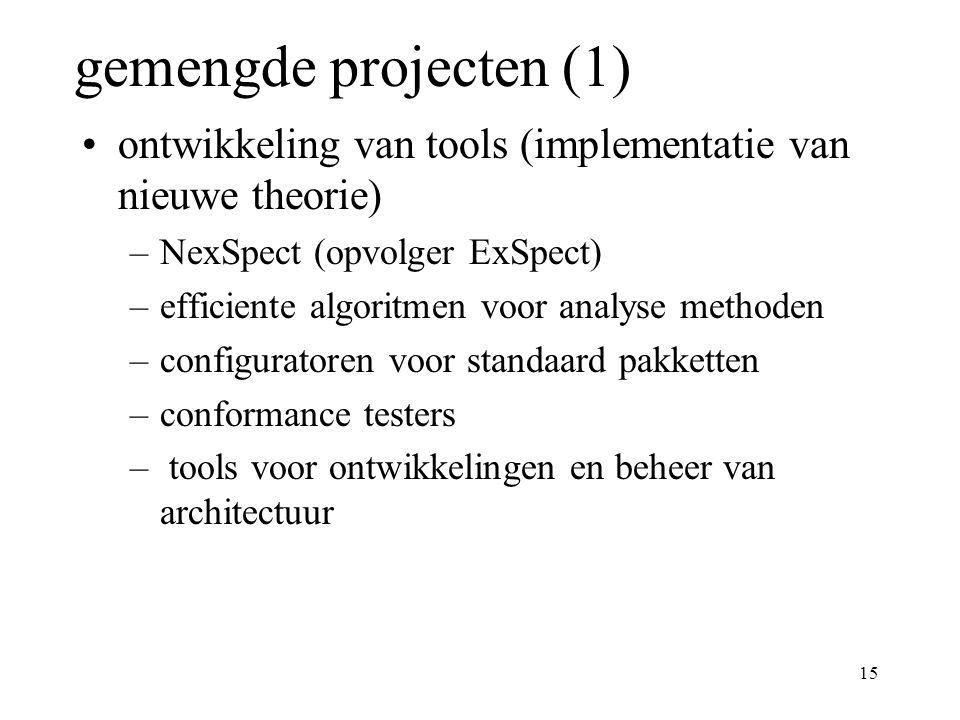15 gemengde projecten (1) ontwikkeling van tools (implementatie van nieuwe theorie) –NexSpect (opvolger ExSpect) –efficiente algoritmen voor analyse methoden –configuratoren voor standaard pakketten –conformance testers – tools voor ontwikkelingen en beheer van architectuur