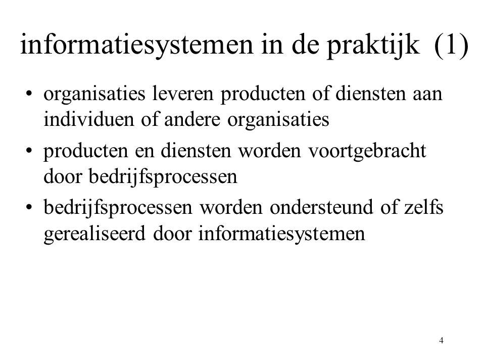 4 informatiesystemen in de praktijk (1) organisaties leveren producten of diensten aan individuen of andere organisaties producten en diensten worden voortgebracht door bedrijfsprocessen bedrijfsprocessen worden ondersteund of zelfs gerealiseerd door informatiesystemen