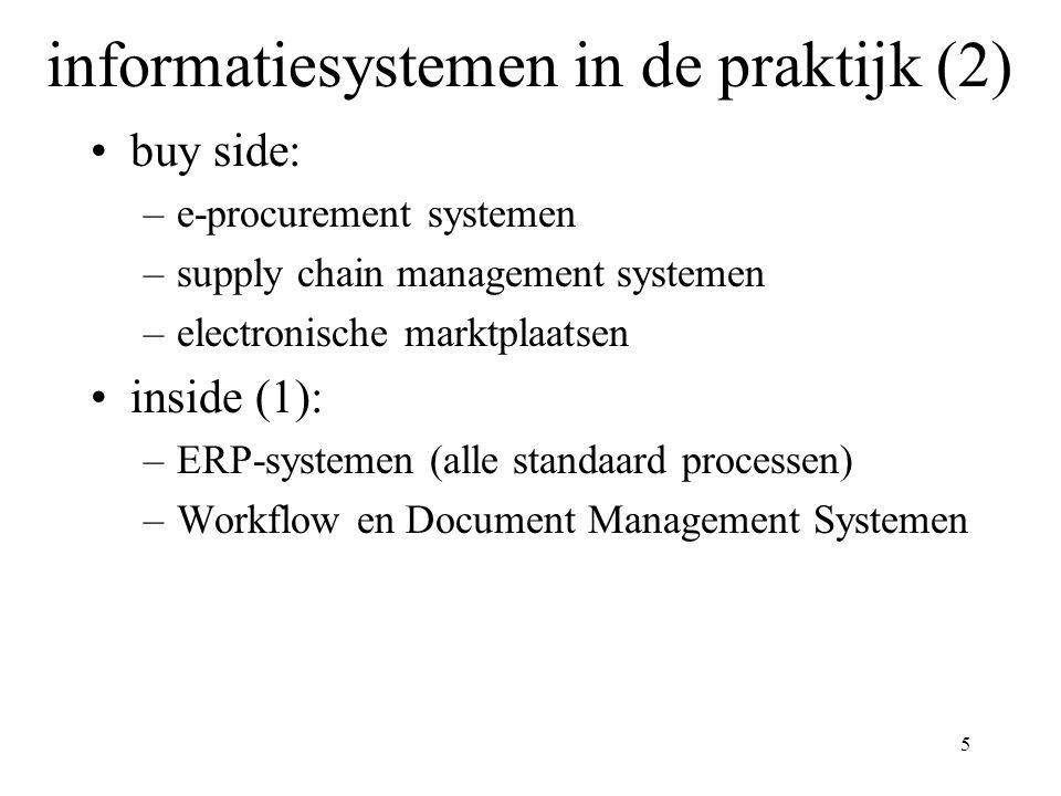 5 informatiesystemen in de praktijk (2) buy side: –e-procurement systemen –supply chain management systemen –electronische marktplaatsen inside (1): –ERP-systemen (alle standaard processen) –Workflow en Document Management Systemen