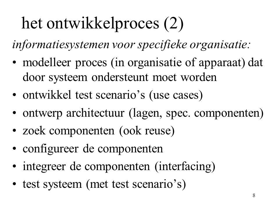 8 het ontwikkelproces (2) informatiesystemen voor specifieke organisatie: modelleer proces (in organisatie of apparaat) dat door systeem ondersteunt moet worden ontwikkel test scenario's (use cases) ontwerp architectuur (lagen, spec.