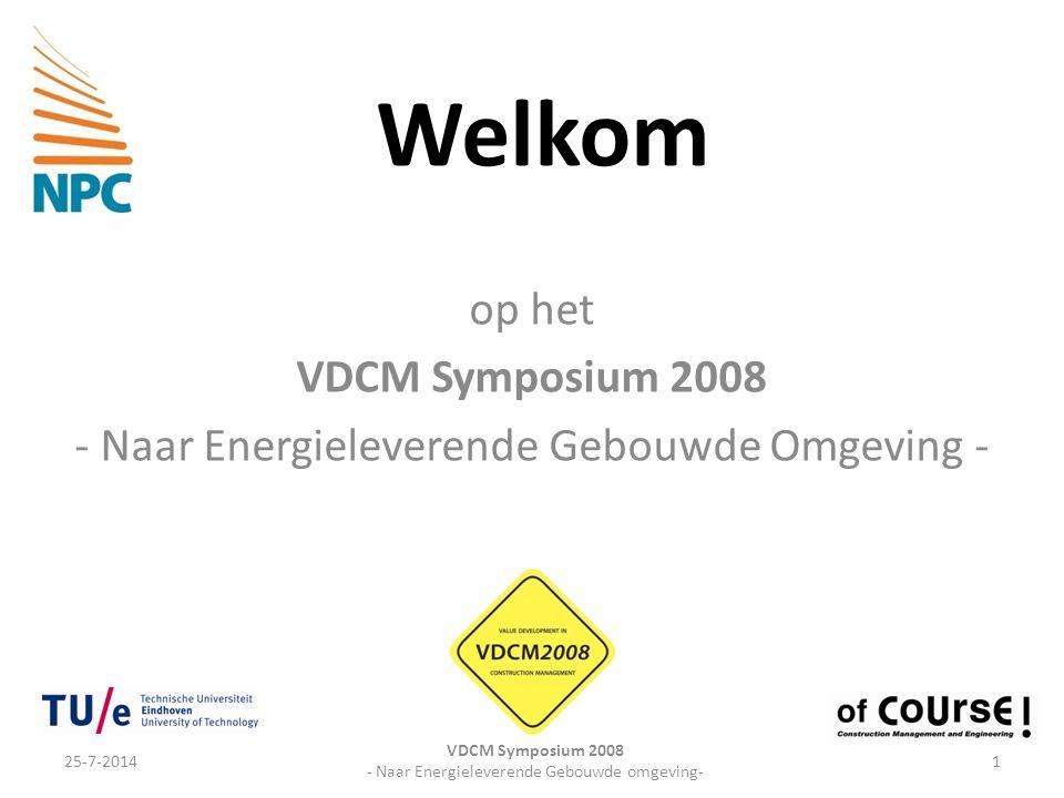 Welkom op het VDCM Symposium 2008 - Naar Energieleverende Gebouwde Omgeving - 25-7-20141 VDCM Symposium 2008 - Naar Energieleverende Gebouwde omgeving