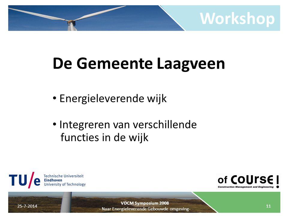 Workshop 25-7-201411 VDCM Symposium 2008 - Naar Energieleverende Gebouwde omgeving- De Gemeente Laagveen Energieleverende wijk Integreren van verschil