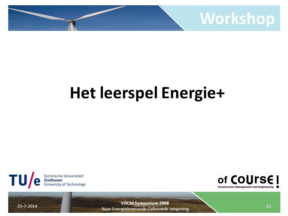 Workshop 25-7-201412 VDCM Symposium 2008 - Naar Energieleverende Gebouwde omgeving- Het leerspel Energie+