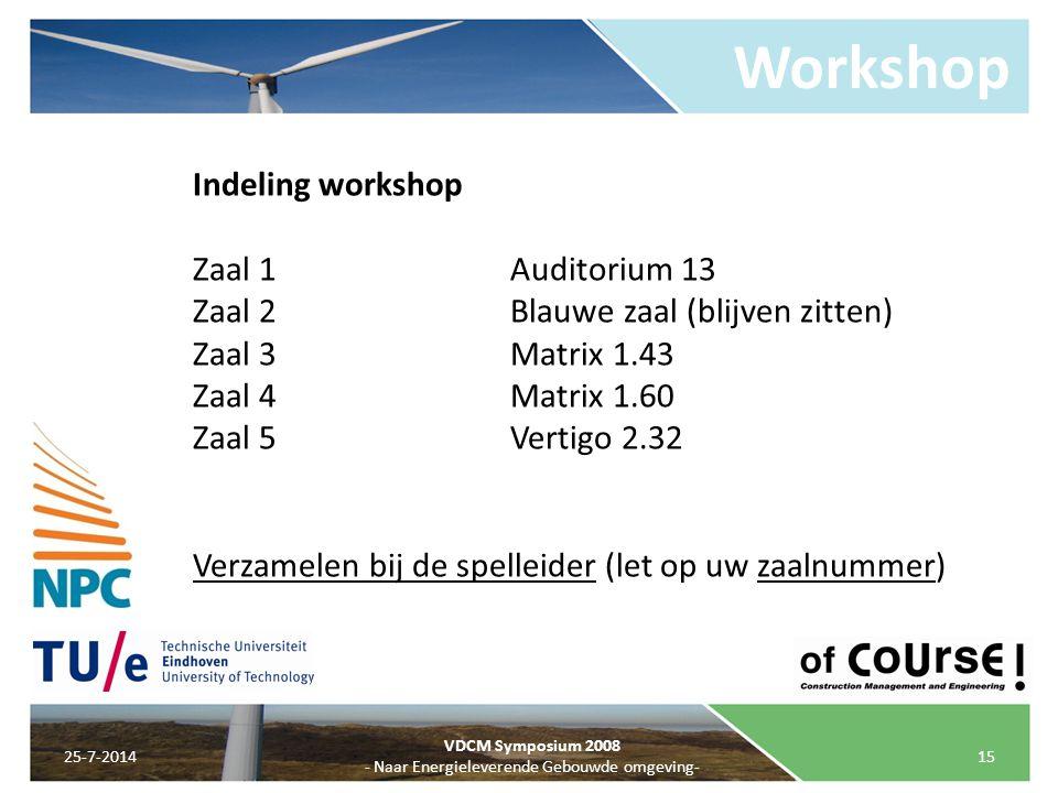 Workshop 25-7-201415 VDCM Symposium 2008 - Naar Energieleverende Gebouwde omgeving- Indeling workshop Zaal 1Auditorium 13 Zaal 2Blauwe zaal (blijven z