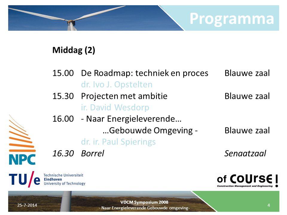 Programma 25-7-20144 VDCM Symposium 2008 - Naar Energieleverende Gebouwde omgeving- Middag (2) 15.00De Roadmap: techniek en procesBlauwe zaal dr. Ivo