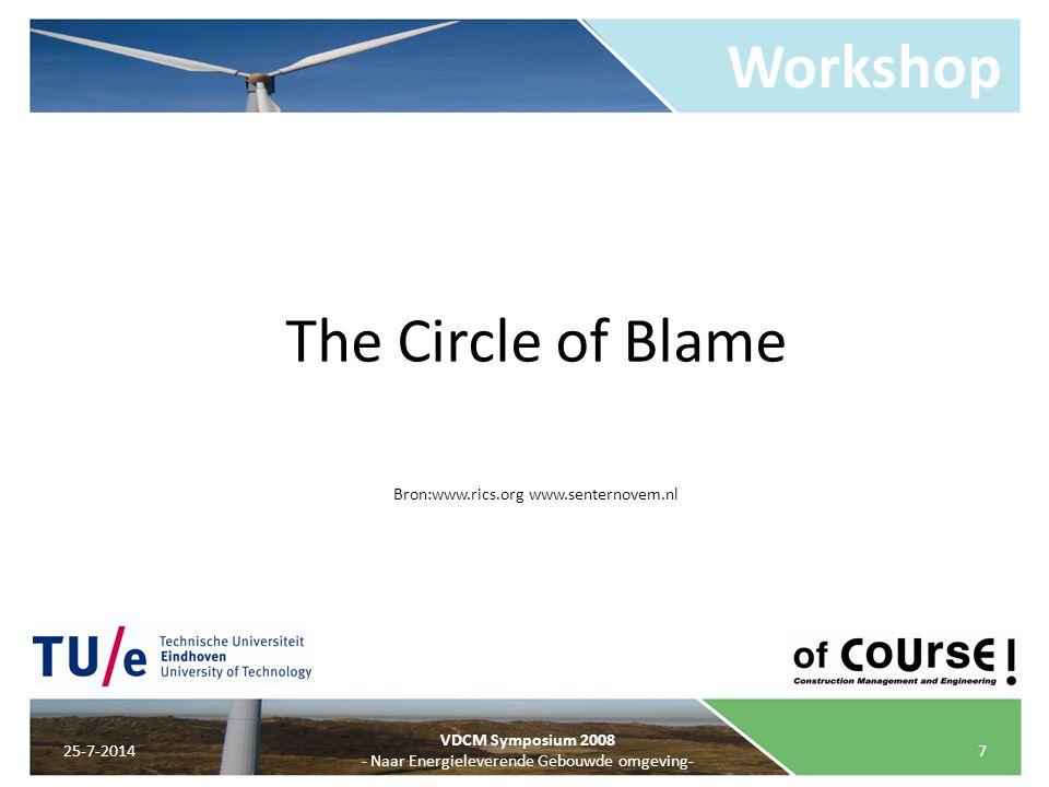 Workshop 25-7-20147 VDCM Symposium 2008 - Naar Energieleverende Gebouwde omgeving- The Circle of Blame Bron:www.rics.org www.senternovem.nl