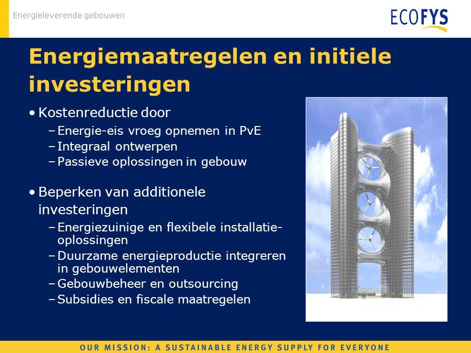 Energieleverende gebouwen Energiemaatregelen en initiele investeringen Kostenreductie door –Energie-eis vroeg opnemen in PvE –Integraal ontwerpen –Pas