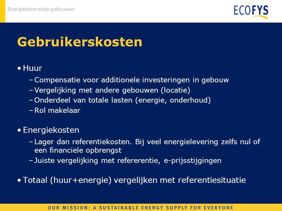 Energieleverende gebouwen Gebruikerskosten Huur –Compensatie voor additionele investeringen in gebouw –Vergelijking met andere gebouwen (locatie) –Ond