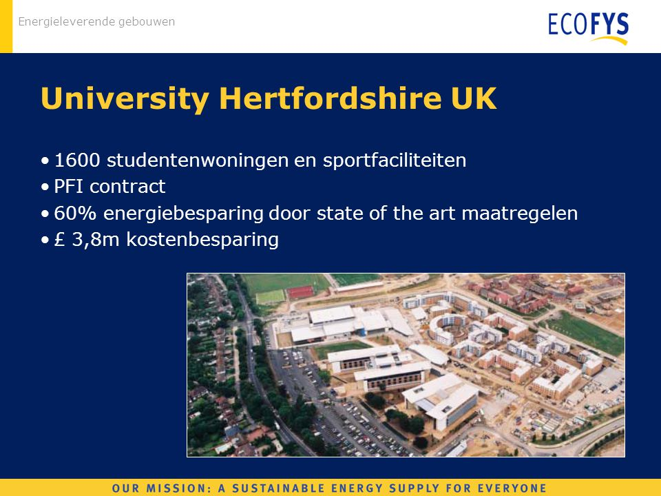 Energieleverende gebouwen University Hertfordshire UK 1600 studentenwoningen en sportfaciliteiten PFI contract 60% energiebesparing door state of the