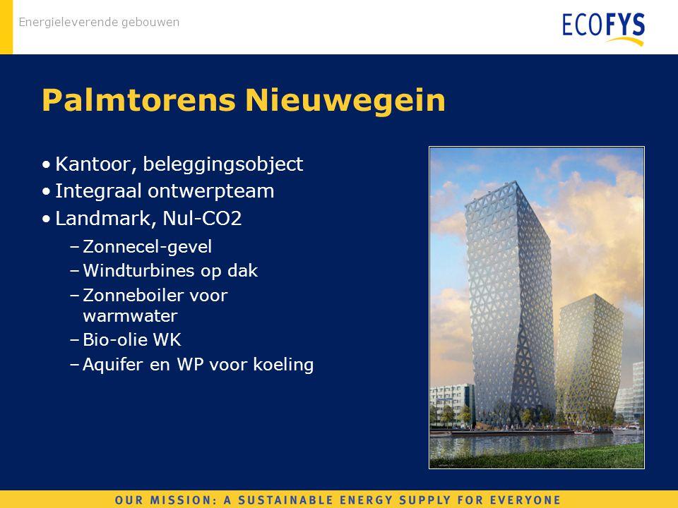 Energieleverende gebouwen Palmtorens Nieuwegein Kantoor, beleggingsobject Integraal ontwerpteam Landmark, Nul-CO2 –Zonnecel-gevel –Windturbines op dak