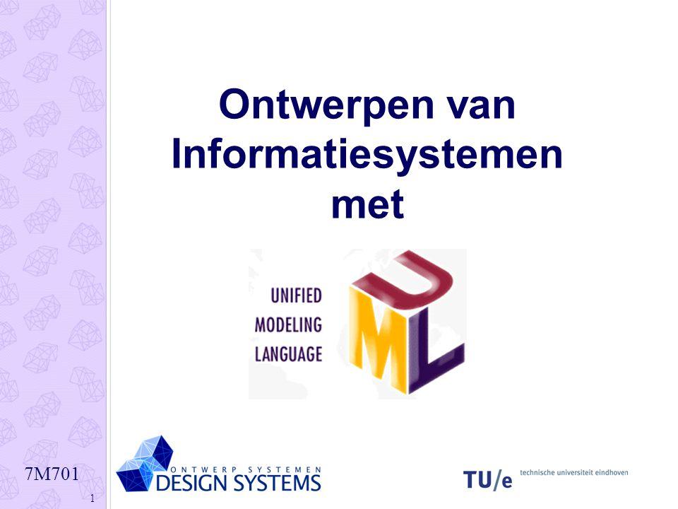 7M701 2 Doelstellingen Kennis over de geavanceerde visuele modelleertechniek UML in het ICT domein Ontwikkelen van inzicht in het toepassen van deze kennis in analyse en ontwerpprojecten