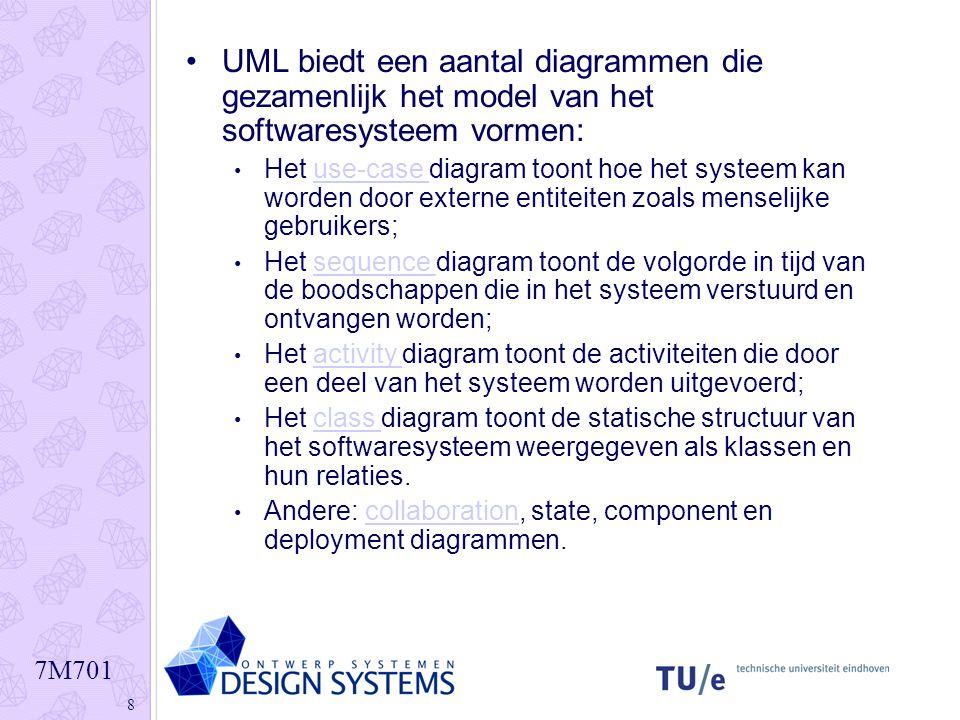 7M701 8 UML biedt een aantal diagrammen die gezamenlijk het model van het softwaresysteem vormen: Het use-case diagram toont hoe het systeem kan worde
